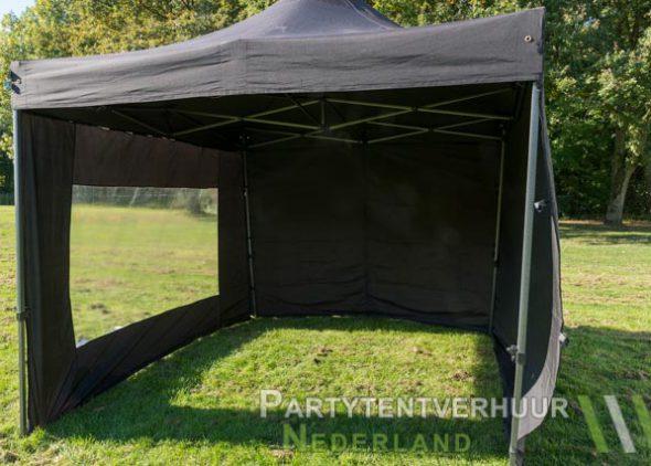 Zwarte easy up tent 3x3 meter voorkant huren in Zeeland