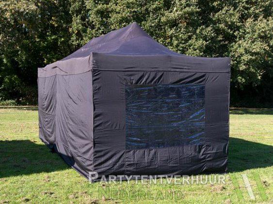 Zwarte easy up tent 3x6 meter achterkant huren in Midddelburg