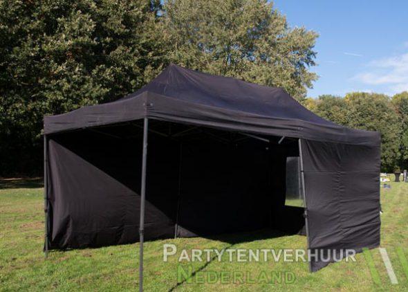 Zwarte easy up tent 3x6 meter binnenkant huren in Middelburg