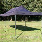Zwarte Easy up tent 3x6 meter schuin voorkant huren in Middelburg