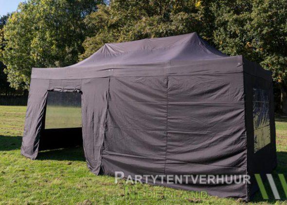 Zwarte Easy up tent 3x6 meter zijkant met deur huren in Middelburg